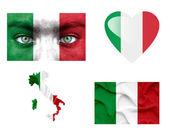 Conjunto de varias banderas de italia — Foto de Stock