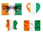 Set di varie bandiere costa d'avorio — Foto Stock