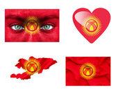Conjunto de varias banderas de kirguistán — Foto de Stock