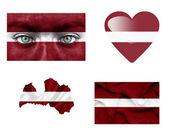 Reeks van verschillende vlaggen van letland — Stockfoto