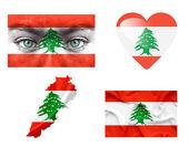 Reeks van verschillende libanon vlaggen — Stockfoto