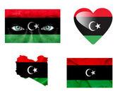 Reeks van verschillende libië vlaggen — Stockfoto