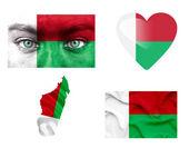 Set di varie bandiere madagascar — Foto Stock