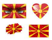 Set di varie bandiere di macedonia — Foto Stock