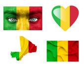 Conjunto de varias banderas de malí — Foto de Stock