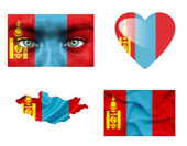 Set of various Mongolia flags — Stock Photo