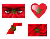 Conjunto de varias banderas de marruecos — Foto de Stock
