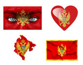 Set di varie bandiere di montenegro — Foto Stock
