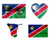 Set di vari flag namibia — Foto Stock