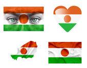 Conjunto de varias banderas de níger — Foto de Stock