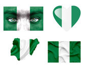 Set of various Nigeria flags — Stock Photo