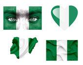 Set of various Nigeria flags — Stock Photo