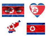Reeks van verschillende vlaggen van noord-korea — Stockfoto