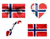 Conjunto de varias banderas de noruega — Foto de Stock