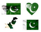 Conjunto de varias banderas de pakistán — Foto de Stock