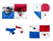Reeks van verschillende panama vlaggen — Stockfoto