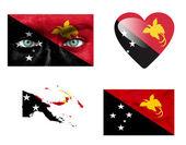 Reeks van verschillende vlaggen van papoea-nieuw-guinea — Stockfoto
