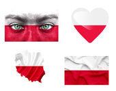 Conjunto de varias banderas de polonia — Foto de Stock