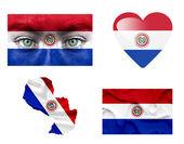 Conjunto de varias banderas de paraguay — Foto de Stock