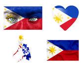 Reeks van verschillende filippijnen vlaggen — Stockfoto
