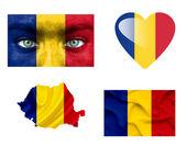 Conjunto de varias banderas de rumania — Foto de Stock