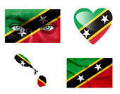 Set of various Saint Kitts and Nevis flags — Stock Photo