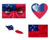 Conjunto de varias banderas de samoa — Foto de Stock