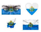 Set di varie bandiere di san marino — Foto Stock