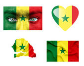 Set of various Senegal flags — Stock Photo