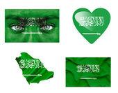 Conjunto de varias banderas de arabia saudita — Foto de Stock