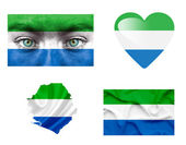 Set of various Sierra Leone flags — Stock Photo