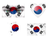 Set of various South Korea flags — Stock Photo