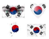 Set di varie bandiere di corea del sud — Foto Stock