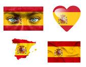Zbiór różnych flag Hiszpania — Zdjęcie stockowe