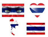 Set of various Thailand flags — Stock Photo