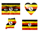 Set of various Uganda flags — Stock Photo