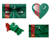 Set of various Turkmenistan flags — Stock Photo