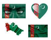 Conjunto de varias banderas de turkmenistán — Foto de Stock