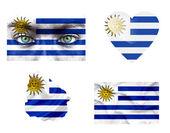 Set di varie bandiere uruguay — Foto Stock