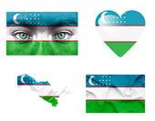 Set of various Uzbekistan flags — Stock Photo