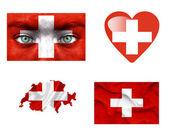 Conjunto de varias banderas de suiza — Foto de Stock