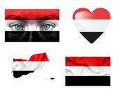 Reeks van verschillende jemen vlaggen — Stockfoto