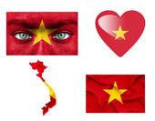 Reeks van verschillende vietnam vlaggen — Stockfoto