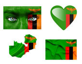 Set of various Zambia flags — Stock Photo