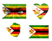 Set of various Zimbabwe flags — Stock Photo