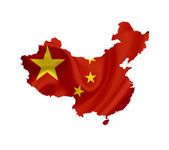 Map of China with waving flag isolated on white — Stock Photo