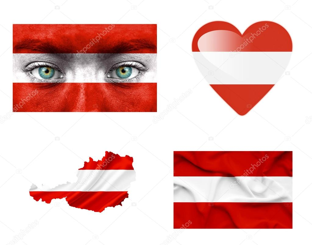 Set of various Austria flags — Stock Photo #12191944