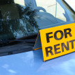 """RENT A CAR"" sign on car - Rent a car concept — Foto de Stock"