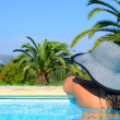 Lady with straw hat enjoying sun — Foto de Stock