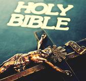 Jesus Chsrist cross on bible — Stock Photo
